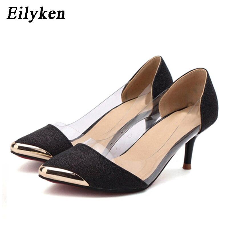 Женские осенние туфли Eilyken, на высоком каблуке, с металлическим острым носком, размеры 34-40, 2020