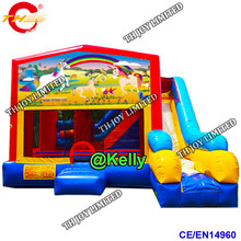 free door shipping 5x4x3.5m giant inflatable bouncer with slide bounce combo, commercial inflatable bouncy castle for sale(China)