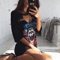 2017 Лето Dresss Коротким Рукавом Шею Свободные Dress Женщины Выдалбливают Sexy Dress Print Shirt Dress Casual Mini Dress