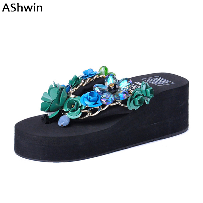 fashion women sandals flip flops wedge platform thong slippers flower crystal beach shoes handmade bohemia rivet sandal woman new summer cheap slippers women fashion flip flops beach platform sandals ladies handmade flowers wedge jelly shoes bohemia