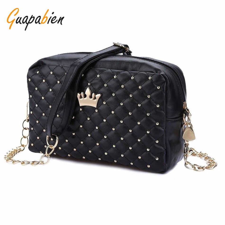 Beleza Store Guapabien Vintage Women Evening Messenger Bags Rivet Chain Black Flap Small Shoulder Bag PU Leather Crossbody Crown Party Bags