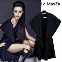 La MaxZa women spring wool poncho Vest trench coat sleeveless cape lady outerwear Shawl jacket vintage black chalecos para mujer
