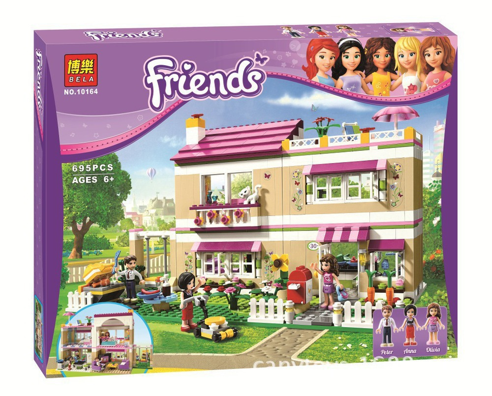 Model building kit compatible with lego city Girl Friend Olivia s house 3D block Educational building