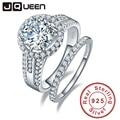 Jqueen 3.45ct esterlina 925 anillo de plata anillo de la vendimia redonda joyas topacio blanco anillos de boda para las mujeres s925 plata