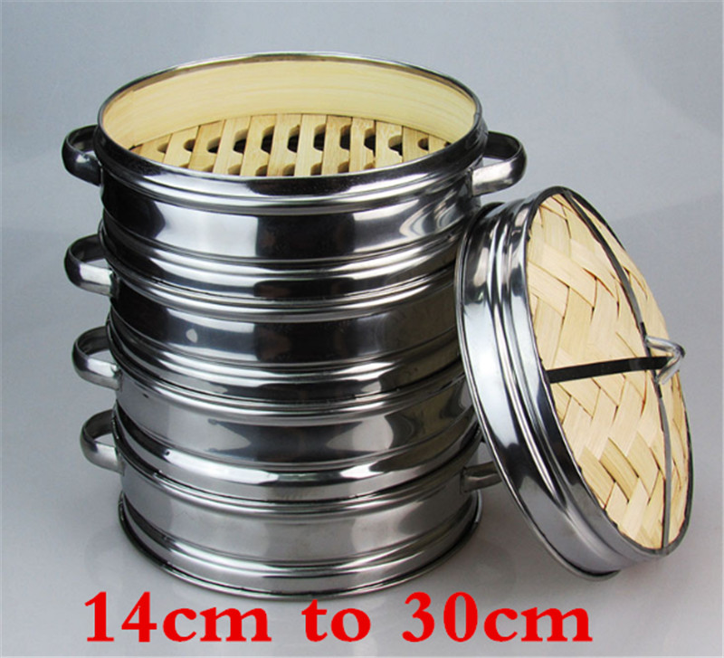 14 To 30cm Stainless Steel Cookware Bamboo Steamer With Lid Chinese Kitchen Cookware For Cooking Fish Rise Pasta Vegetables Dim
