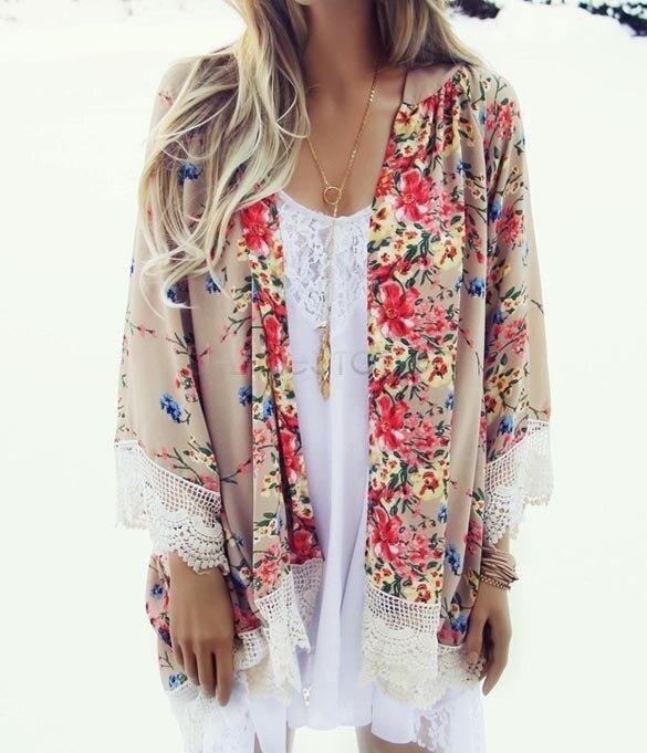 Fashion Women Floral Pattern Printed Lace Kimono Cardigan Blouse Shirt Brand Tops Batwing Sleeve Blusas Femininas 2