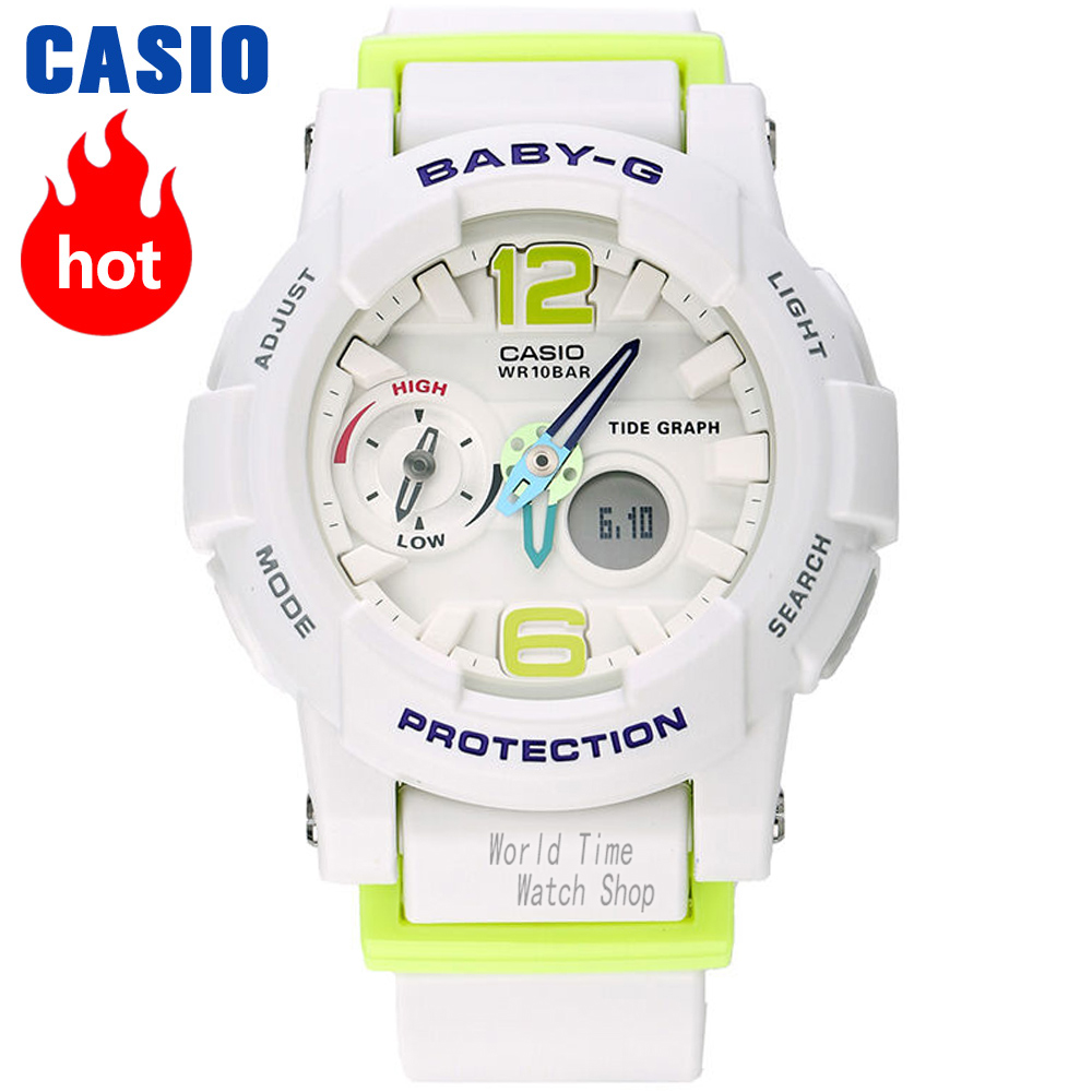 Casio watch BABY-G Women's quartz sports watch waterproof tide temperature measurement baby g Watch BGA-180 casio watch tide three dimensional electronic sports female watch bga 180 2b bga 180 1b bga 180 7b2 bga 180be 7b bga 180 7b1