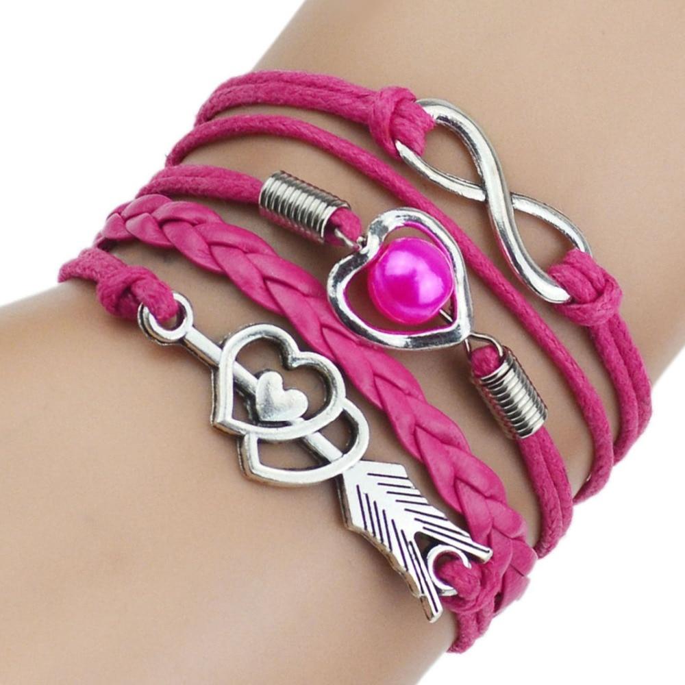 9 Color 2017 New Fashion Love Leather Bracelet Bead Heart Arrow Bracelets for Women Man High Quality Bracelet Best Birthday Gift 4