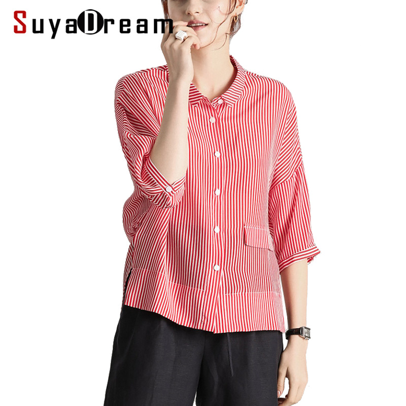 Women Stripe Blouse 100%Real Silk Crepe Printed Half Sleeved Blouse Shirt for Women 2019 New Striped Red Top shirt