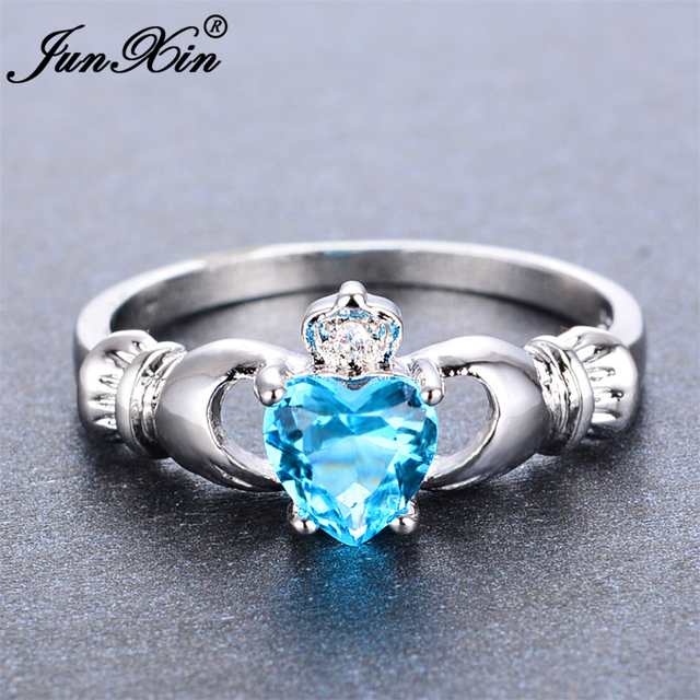 JUNXIN Female Claddagh Ring Fashion Light Blue Heart Ring White Gold Filled Crystal Jewelry Promise Engagement Rings For Women