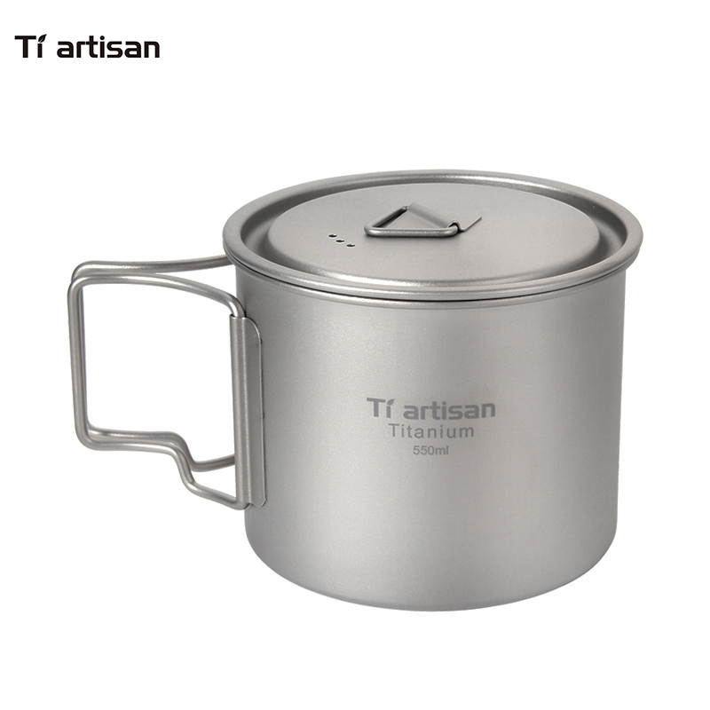 Tiartisan Pure Titanium 550ml Outdoor font b Camping b font Cooking Pot Water Cup Tea Coffee