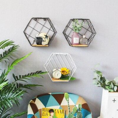 Rejilla de Metal nórdico/estante colgante de pared hexagonal soporte de almacenamiento conveniente figura geométrica pared decoración del hogar
