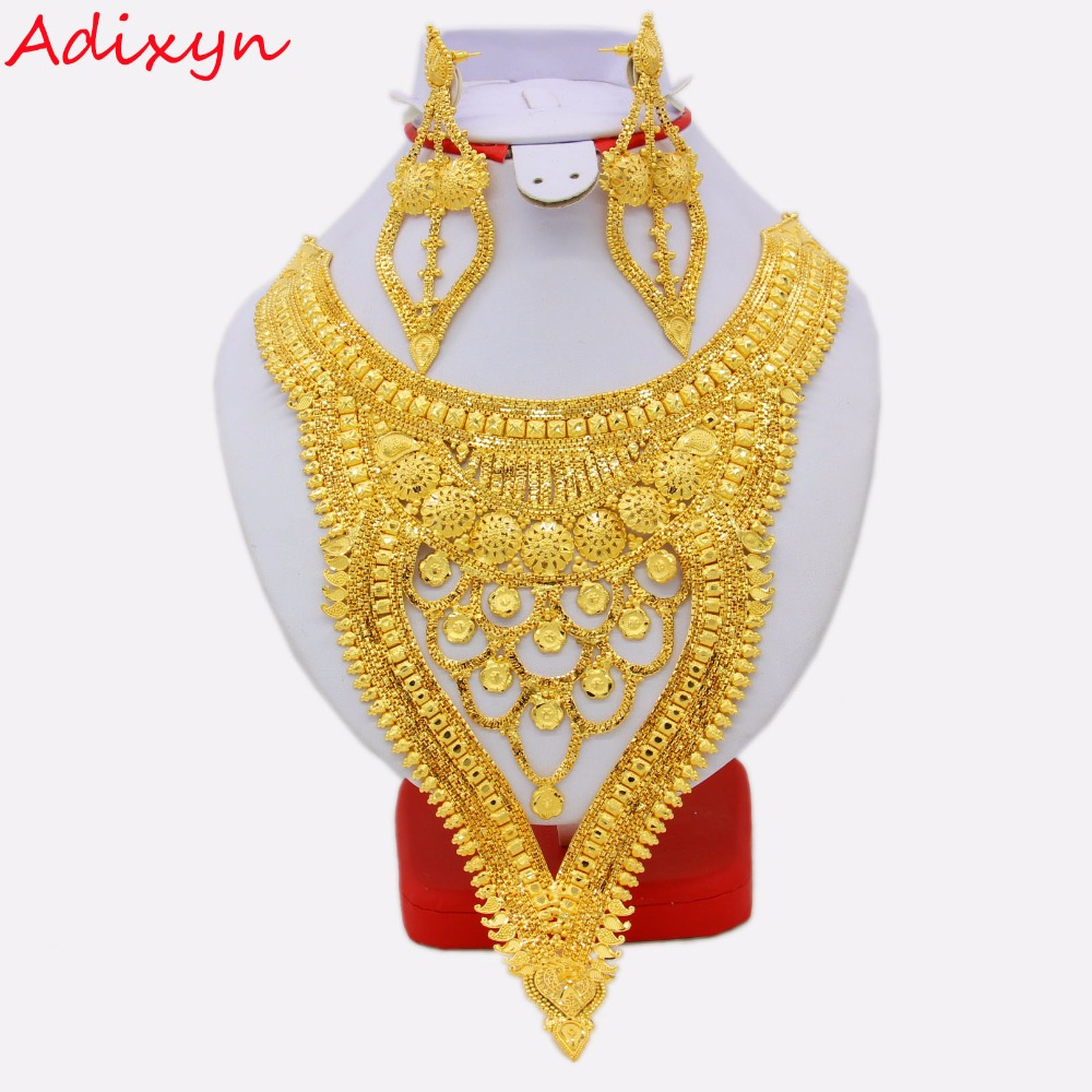 Adixyn NEW Dubai Necklace&Earrings Jewelry Set for Women Gold Color & Copper African/Arab/Middle East Wedding/Party Gifts adixyn dubai gold bangles fashion jewelry for women men gold color bangles bracelets african india middle east items free box