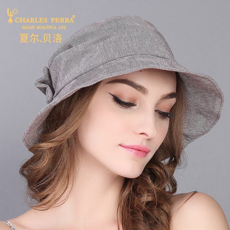 bd203393 Charles Perra Female Hat Spring Summer Cotton Linen Bucket Hats Pure Color Women  Cap Fashion Elegant Holiday Beach Caps 1835-in Bucket Hats from Women's ...