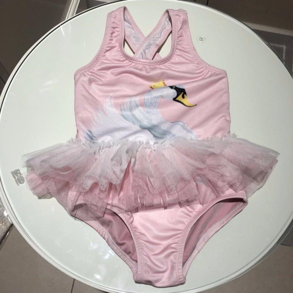 Ins 2018 primavera baby girl roupas de verão meninas cisne swimwear terno de natação do bebê menina vestir lace roupa nova marca um peça