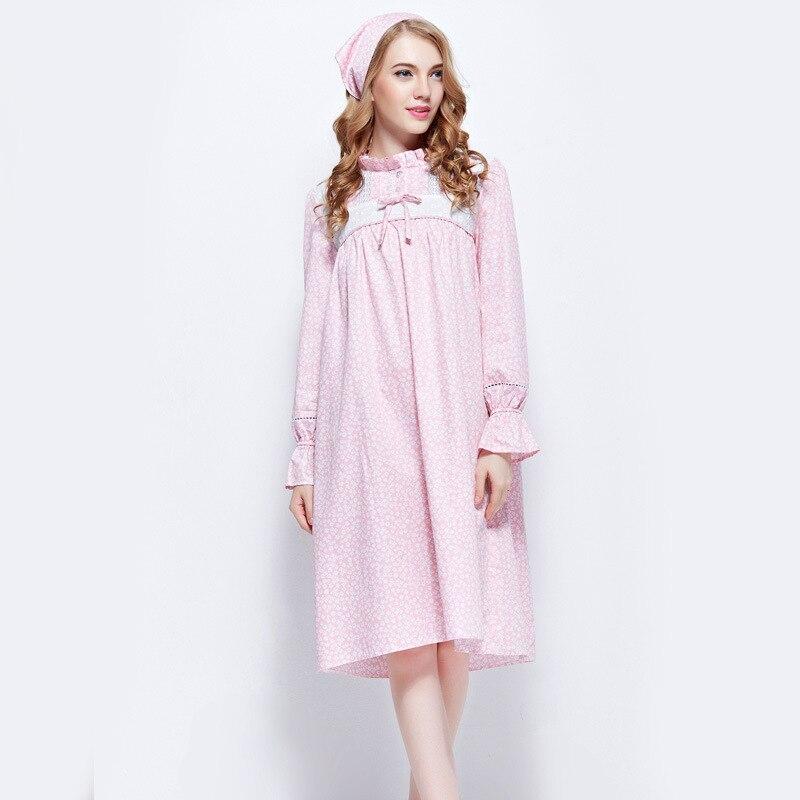 Sleepshirts Fashion Floral Women Cotton Nightgown Female Vintage ...