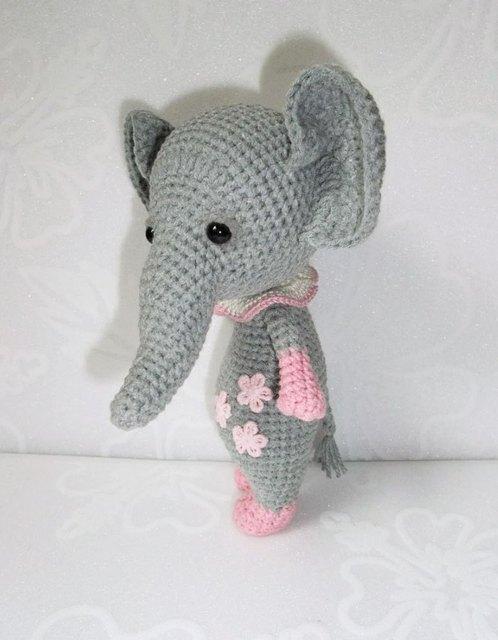 Cute Crochet Animal Amigurumi Baby Elephant Rattle Toy In Baby