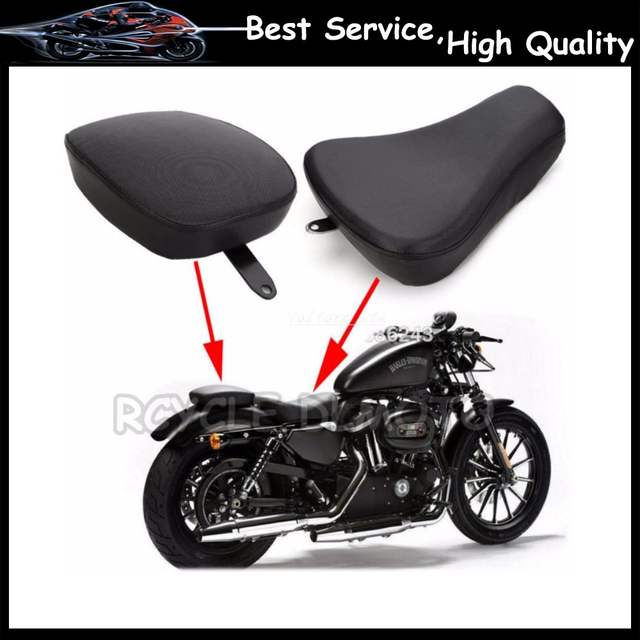 New Front Driver Solo SeatDriver+Rear Passenger Seat Pad For Harley  Sportster 883 48 Iron XL1200 Black