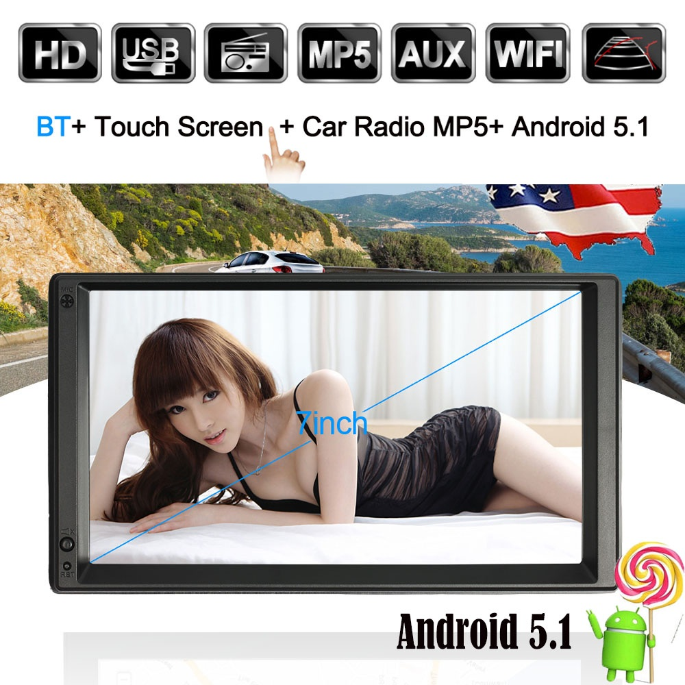 2 DIN Android Car Radio GPS WIFI 5.1 Mutimedia Player GPS Navigation Stereo autoradio Entertainment 7 HD Touch Screen BT WIFI kkmoon 2 din hd touch screen car stereo radio player gps navigation multimedia entertainment system wifi bt am fm android 5 1