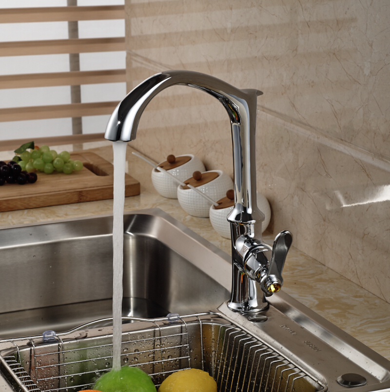 Creative Design Brass Chrome Kitchen Hot Cold Water Faucet Single Handle Mixer Tap Deck Mount micoe hot and cold water basin faucet mixer single handle single hole modern style chrome tap square multi function m hc203