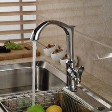 Креативный Дизайн Латунь Хром Кухня Горячей и Холодной Воды Кран Одной Ручкой Смеситель Deck Mount
