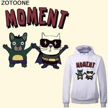 ZOTOONE Iron on Cartoon Cat Dog Patch for Kids Clothes T-shirt DIY Heat Transfer Vinyl Washable Custom Stickers Badges Applique