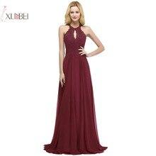 2019 Sexy A line Applique Beading Elegant Long Prom Dresses Chiffon Sleeveless Gown Gala Dress vestido de gala