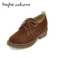 Estilo Britânico Retro Sapatos de Couro Camurça Dedo Do Pé Redondo Mulher Faculdade estilo Coreano Estudante Sapatos Oxfords Para Senhoras ln com Tamanho 34-43