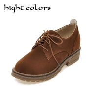 Retro British Style Suede Leather Shoes Woman Round Toe College Style Korean Student Shoes Oxfords For