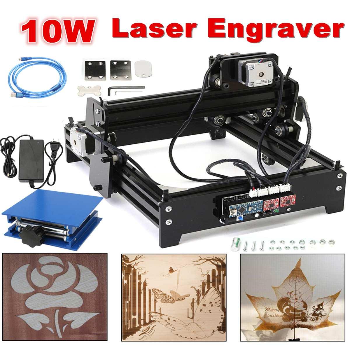 10W USB Desktop DIY Metals Stone Wood CNC Laser Engraver Marking Engraving Machine Engraving Wood Router Area 20 X 14 Cm