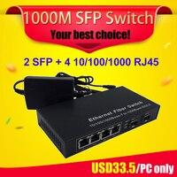 2 sfp slot fiber optical gigabit switch sfp to 4 rj45 UTP ports ethernet media converter SC single mode FTTH GPON terminal