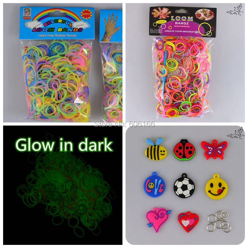 Hot Colorful Loom Rubber Bands with Charm Pendant Accessories DIY Bracelets Popular Children Party Gift Fashion Jewelry