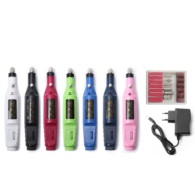 1Set Professional Electric Nail Kit Nail Tips Manicure Machine Electric Nail Art Pen Pedicure 6 Bits Nail Art Tools Kit New Gift 1