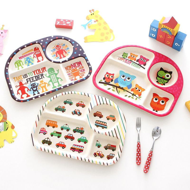 Cartoon Baby  Plate For Girl Boy Children Dinner Cute Plate Kids Feeding Plate Children Gift 100% Bamboo Tray-001