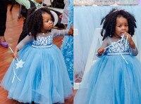 Puffy tulle Sheer manga larga Niño fiesta de cumpleaños traje Bling sequins princesa congelada luz azul flor chica vestido