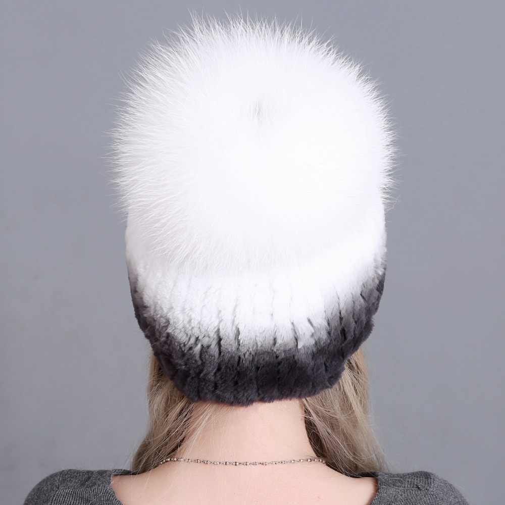 cb9f37c59b1 ... Fur Hat For Female With Luxury Fluffy Ball Russian Hats New Cold Winter  Genuine Rabbit Fur ...