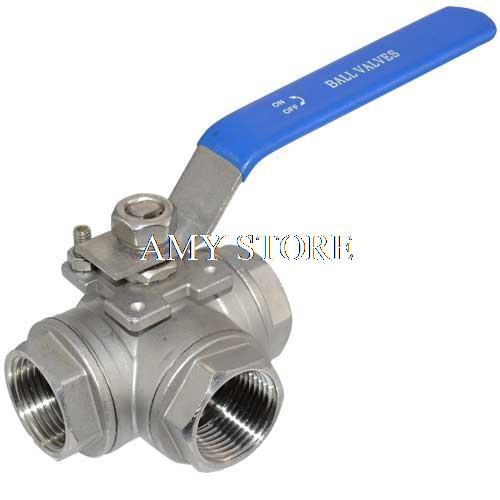 DN32 1-1/4 3 Way Female BSPP 304 SS Stainless Steel Type T or L Port Mountin Pad Ball Valve Vinyl Handle WOG1000