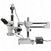 Wholesale prices Stand Zoom Stereo Microscope–AmScope Supplies 2X-180X Boom Stand Zoom Stereo Microscope with 80-LED Light + 5MP Digital Camera