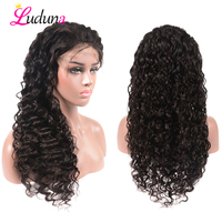 Luduna Peruvian Lace Front Human Hair Wig With Baby Hair Wig Human Hair Water Wave Lace Front Wig Pre Plucked Natural Color Remy