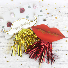 Cake Topper Flags Moustache Red Lips Cupcake Toppers Bride Kids Happy Birthday Wedding Wrapper Party Baking DIY Flag