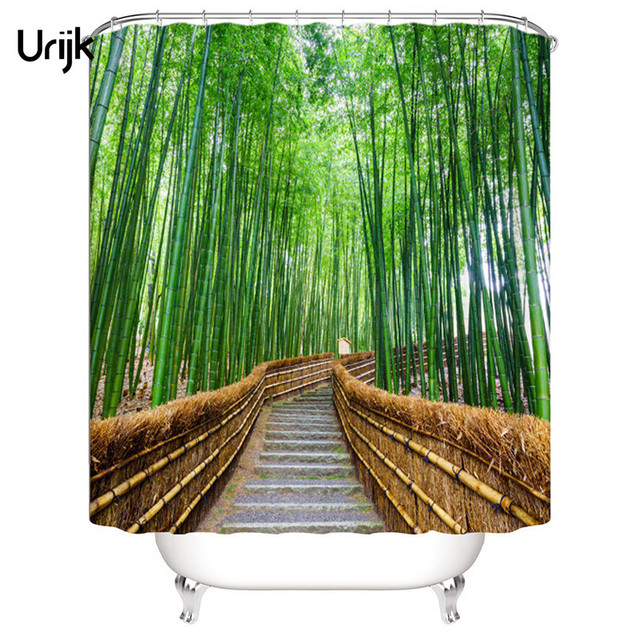 Urijk 1PC Bamboo Forest Waterproof Shower Curtain Bathroom Green 3D Curtains High Quality Polyester Fabric