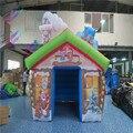 Decoración de navidad inflable santa casa carpa inflable santa gruta