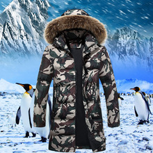 2016 X-Long down jacket Military camouflage Men's Winter Warm Jacket fur collar Hooded Casual Cotton-padded Jacket Parka AMD409