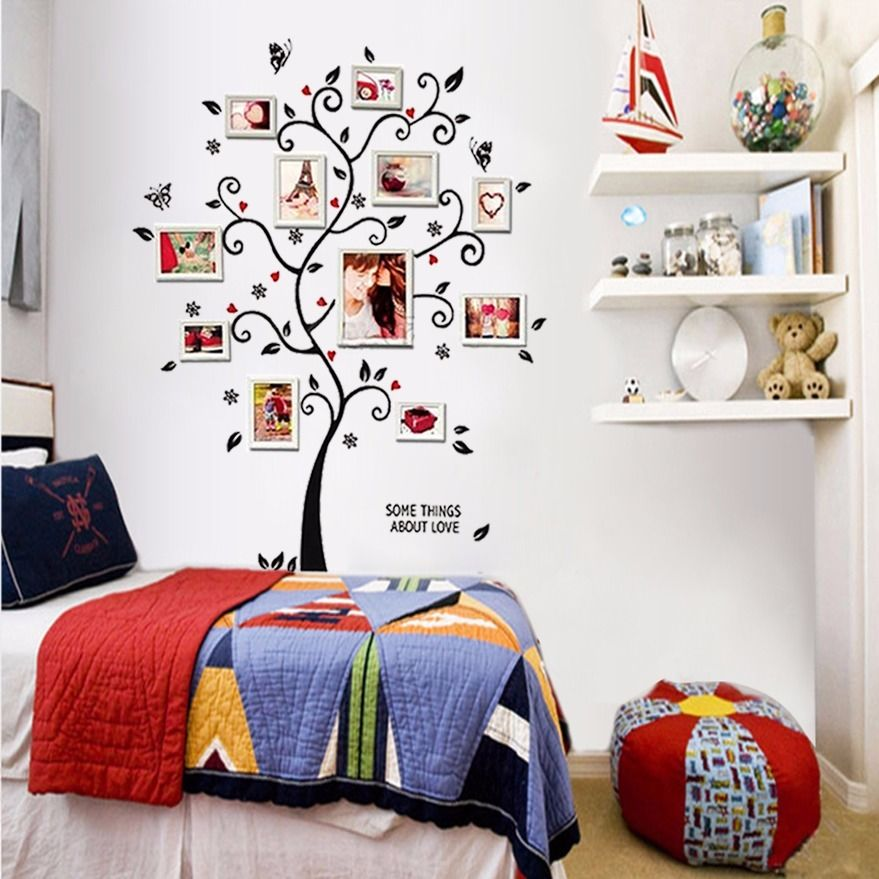 100 120cm 40 48in 3d diy removable photo tree pvc wall for Adhesive wall decoration
