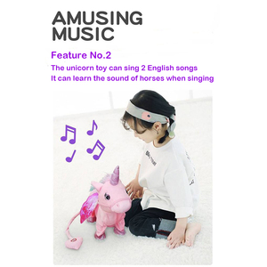 Image 3 - Jeriwell 35cm חשמלי הליכה Unicorn בפלאש מצחיק צעצוע מדבר צעצוע חד קרן שירה מוסיקה ממולא צעצוע לילדים ילדים מתנה