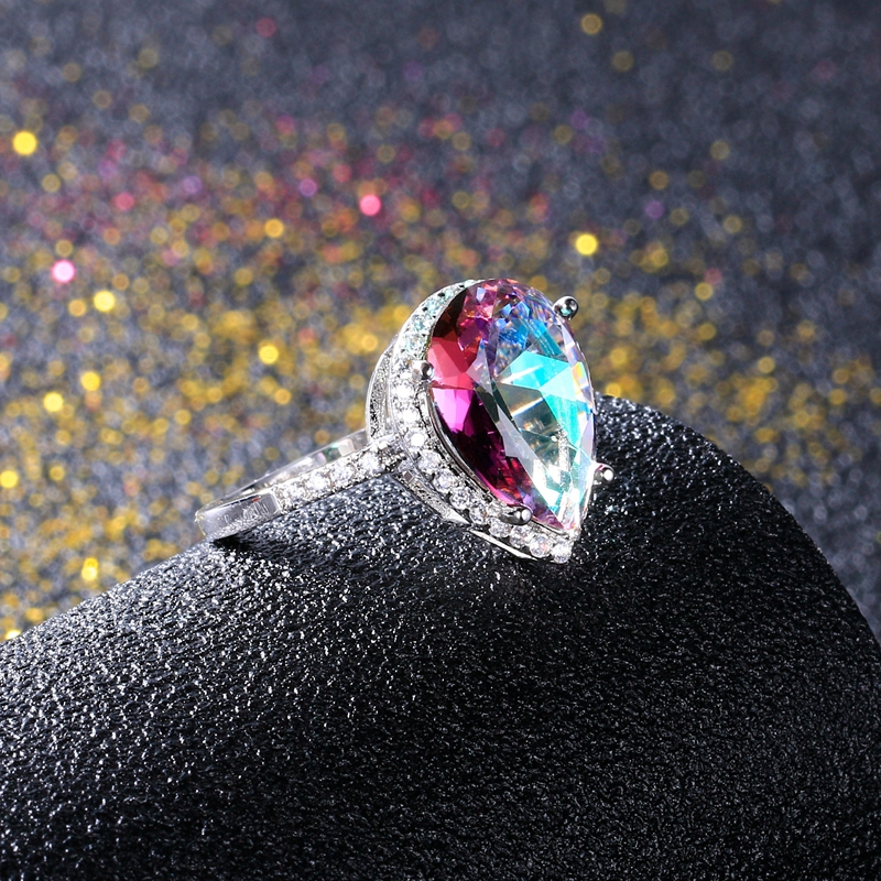 Купить с кэшбэком Ladies Jewelry S925 Silver Ring Mystical Rainbow Topaz Dripping Ring Wedding Jewelry Party Valentine's Day Gift