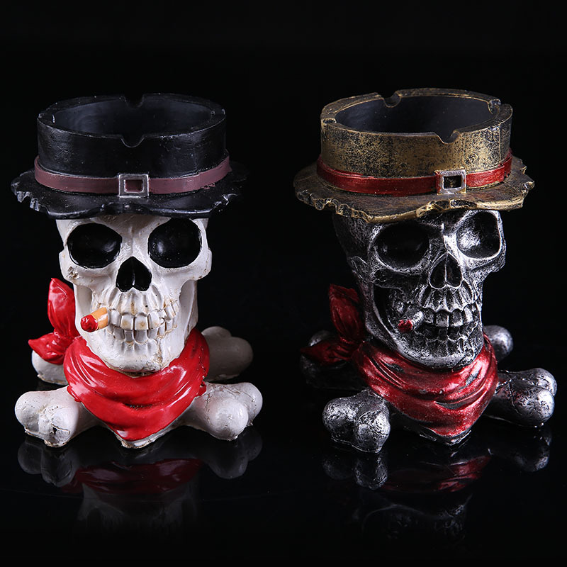 Fashion Skull Ashtray Large Belt Lid Personalized Resin Ashtray Decoration Skull Ashtray Birthday Gift Creative Toys