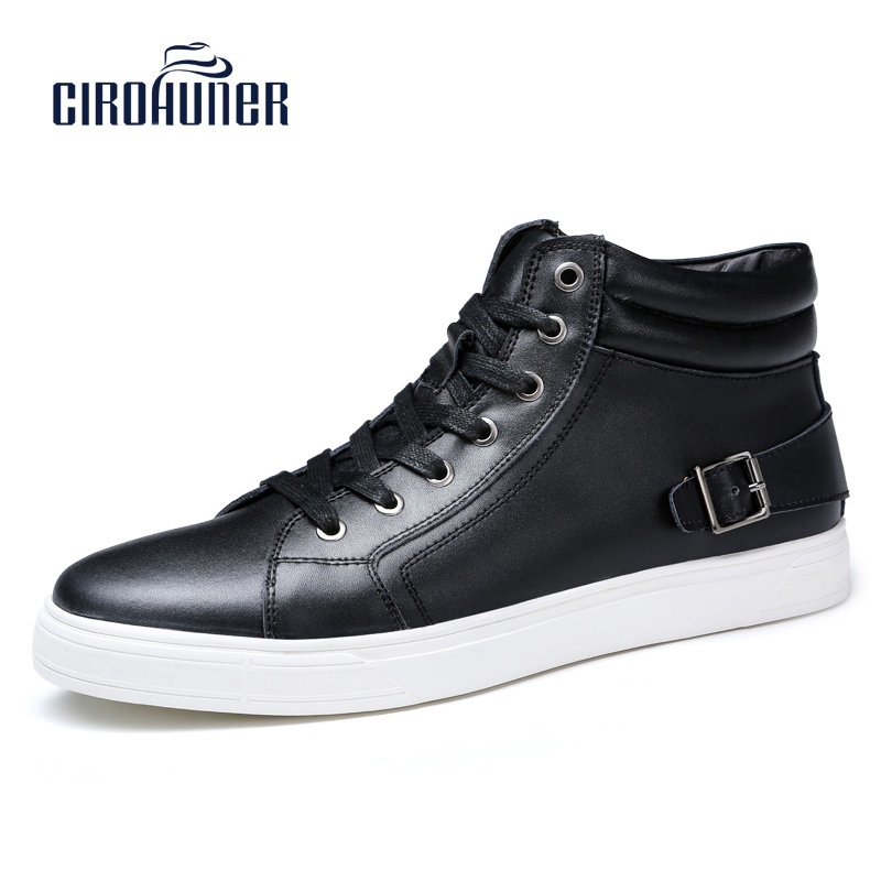 CIROHUNER 2017  Winter High Top Sneaker  for Men Shoes Genuine Leather With Fur Warm Snow Boots Outdoor Waterproof Work Shoes men boots 2015 men s winter warm snow boots genuine leather boots with plus velvet shoes high quality men outdoor work shoes