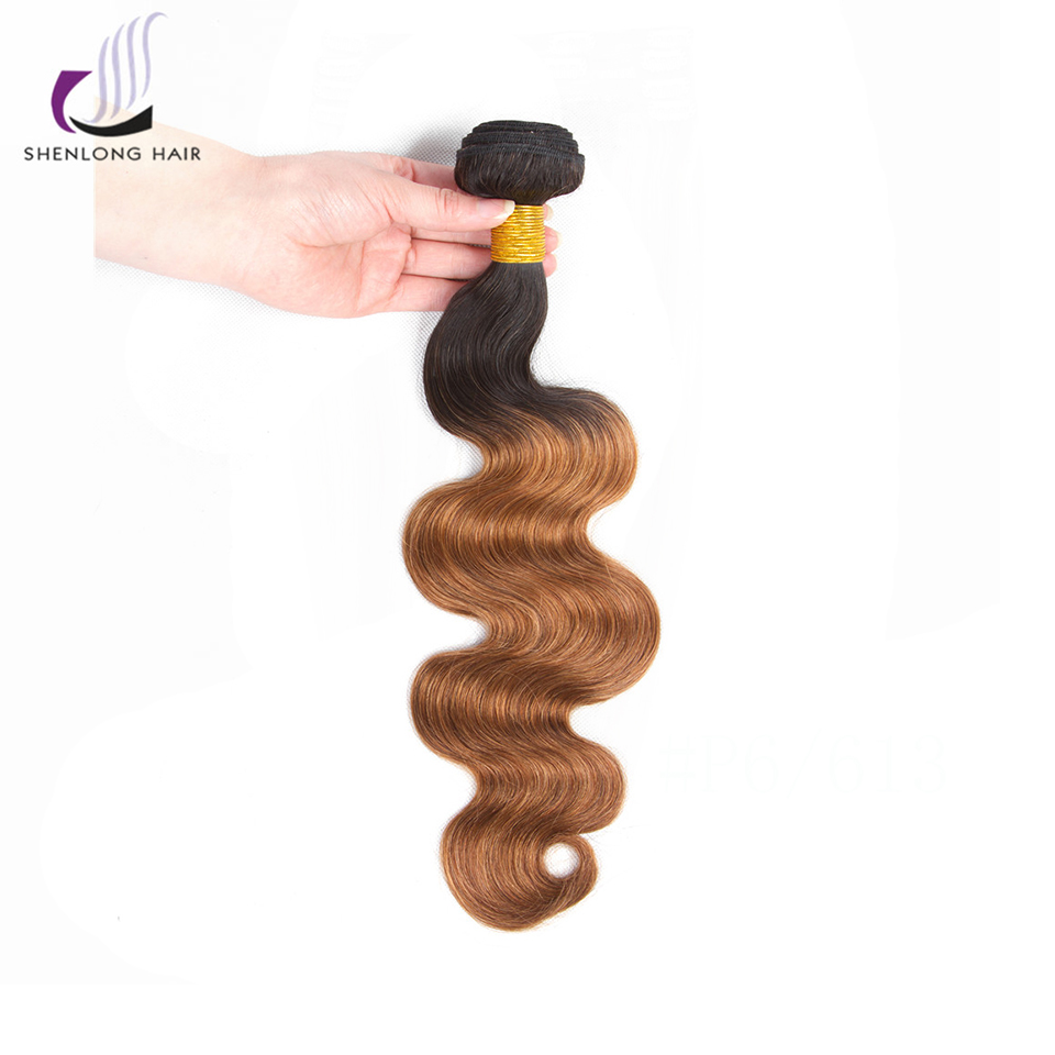 SHENLONG HAIR 100% Human Hair Malaysian Body Wave Ombre 1 Piece T1/B30 Color Non Remy Hair Bundles Extensions Free Shipping ...