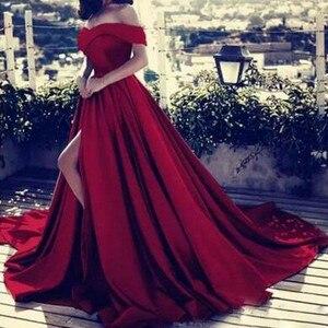 Image 5 - Hot Sale 2020 Pink Evening Dresses Sexy V Neck Off the Shoulder Satin A Line Elegant Long Prom Party Gown Vestido de Festa Curto